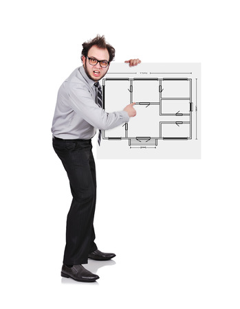 crazy businessman holding poster with blueprint photo
