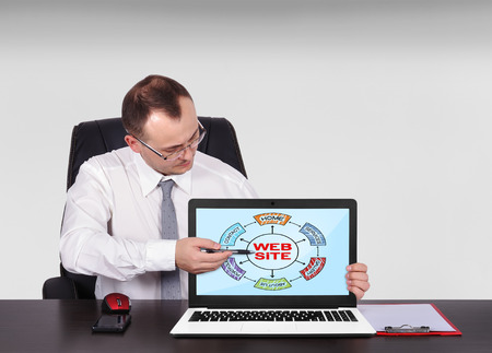 businessman sitting in office and pointing to screen laptop  with scheme website photo