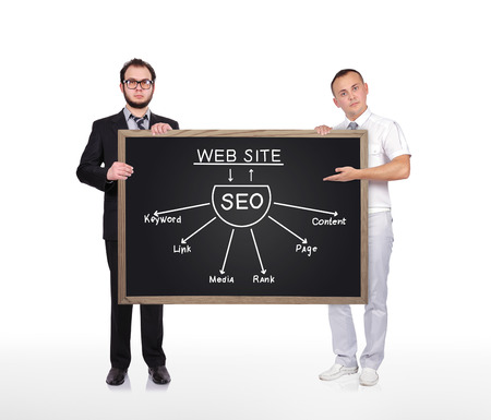 two businessman holding blackboard with seo scheme photo