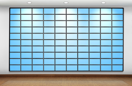 blank plasma panel on wall in office