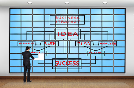 businessman puts plasma panel with business plan photo