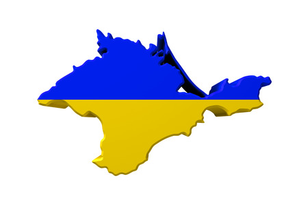annexation: Crimea peninsula colorized in colors of Ukraine  flag