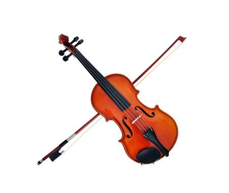 fiddlestick: violon con arco de viol�n sobre un fondo blanco Foto de archivo