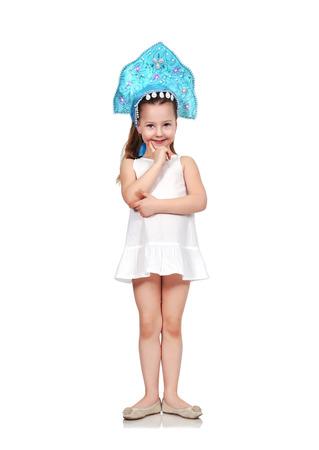 kokoshnik: Happy child in kokoshnik isolated on a white background