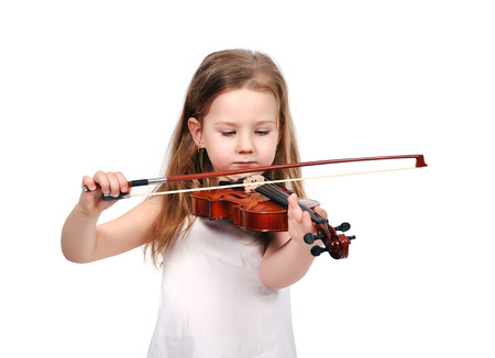 little girl with violin isolated on white background photo