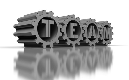 big silver gears with team text, 3d render photo