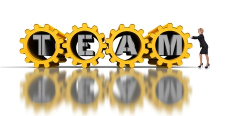 businesswoman pushing  golden gears with silver team text photo