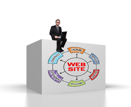 businessman sitting on big cube with drawing website scheme photo