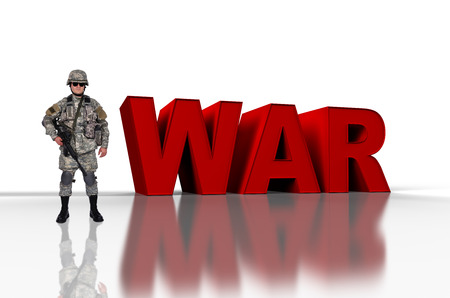 fatigues: us soldier with assault rifle  and 3d red text war Stock Photo