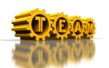 golden gears with team text, 3d render photo