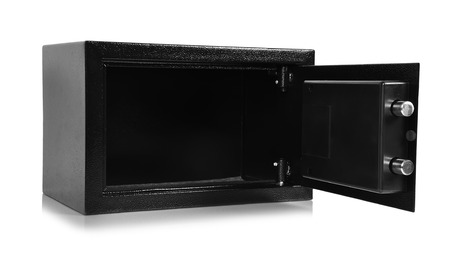 opened empty safe on a white background