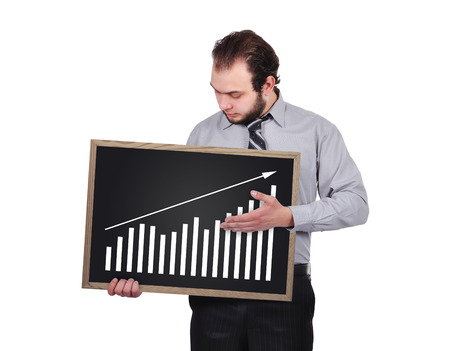 businessman holding blackboard  with drawing chart photo