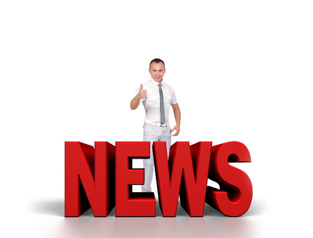 newsgroup: happy businessman is preparing to release news Stock Photo
