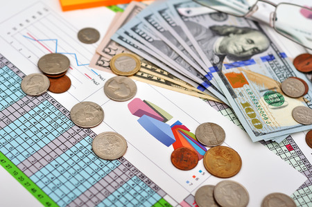 financial report with  chart and money photo