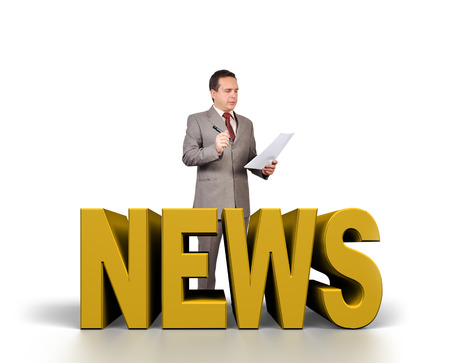 newsgroup: businessman is preparing to release news Stock Photo