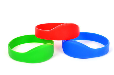 rf: three color rfid bracelet on a white background