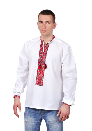 guy with Ukrainian embroidered shirt on white background photo