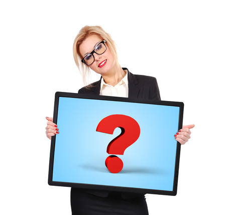 businesswoman holding big touch pad with question mark photo