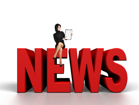 businesswoman with clipboard sitting on  3D News word Stock Photo