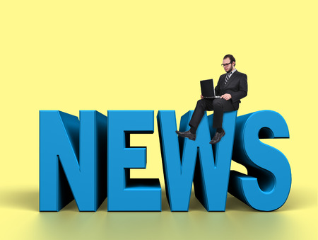 businessman with laptop is preparing to release news photo