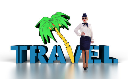 commercial tree service: stewardess in uniform, travel concept