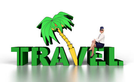 commercial tree service: stewardess sitting on big travel 3d text