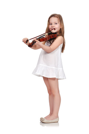 little girl with violin isolated on white background Stock Photo