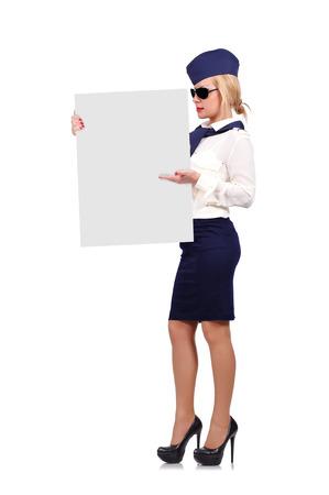 stewardess holding placard on a white background photo