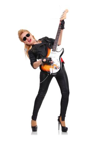 rocker girl: hermosa chica rockera con la guitarra el�ctrica Foto de archivo