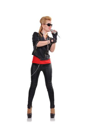 rocker girl: hermosa chica rockera cantando expresiva