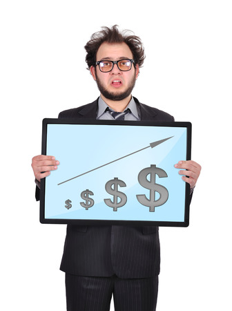 sad businessman holding plasma panel with chart photo