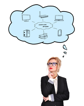 businesswoman thinking about computer network on white background photo