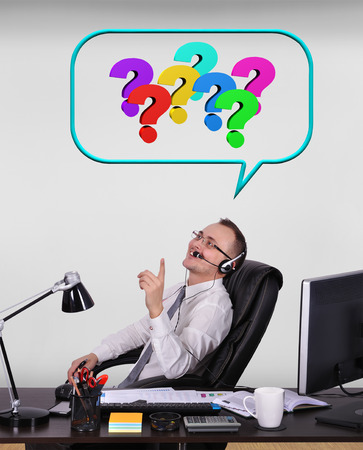 happy client: happy customer service representative solves problems with the client