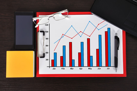 clipboard with chart on table and business object photo