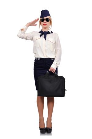 salutes: stewardess salutes on white background Stock Photo