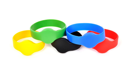 rfid: Many color rfid bracelets on a white background