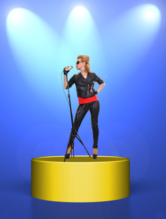 sexy rock girl standing on scene and singer in microphone photo
