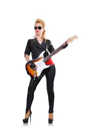 rocker girl: rockero chica hermosa con la guitarra el�ctrica