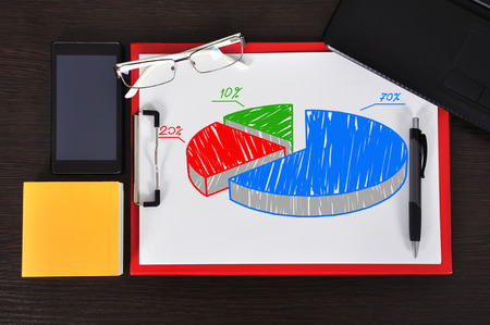 clipboard with pie graph on table and business object photo