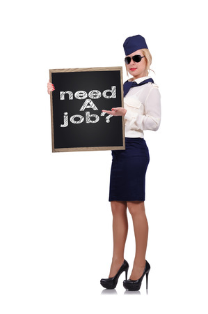 jobless: stewardess holding blackboard with drawing need a job