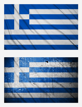 Waving and grunge flags of Greece