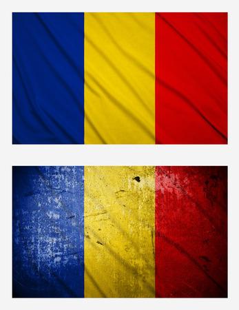 transylvania: Waving and grunge flags of Romania