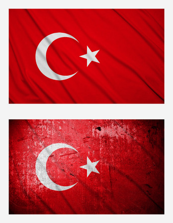 Waving and grunge flags of Turkey photo