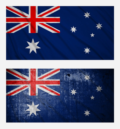australian flag: Waving and grunge flags of Australia Stock Photo