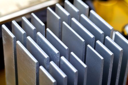 Aluminum chipset heatsink on motherboard,  close up photo