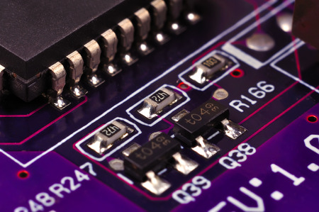 processors: electronic circuit board with processors, close up