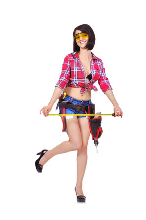 happy girl with tape measure  on a white background photo