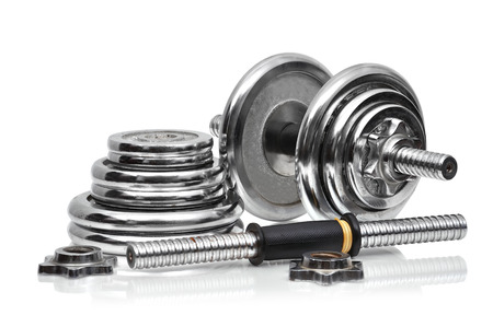 collapsible: metal collapsible dumbbell  on a white background Stock Photo