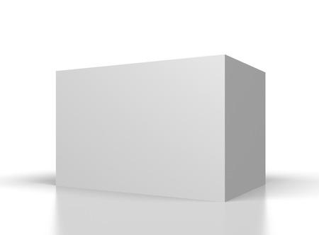 grote lege witte doos op witte achtergrond Stockfoto