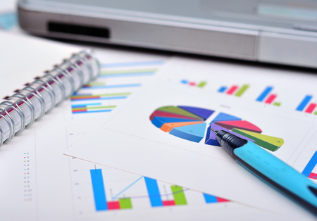market analysis with financial data, close up photo